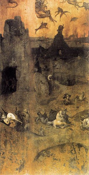 """Approx AD1516 - Depiction of the judgement of the 200 angel """"watchers"""" who left their position to rebel and take human wives - by Hieronymus Bosch"""